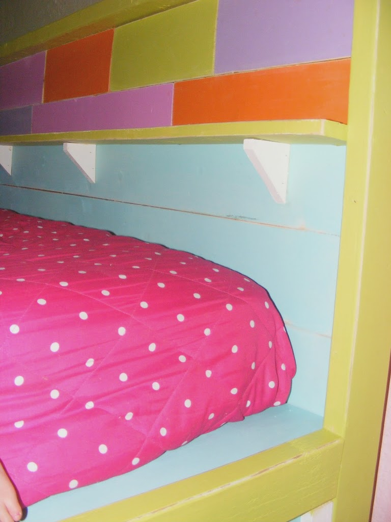 Fabulous I designed this bed with wiggle room around the entire mattress This is the upper bunk and when you scoot the mattress back all